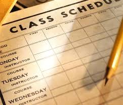Class schedule with pencil