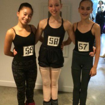 FVAD Students Ann Li Jie, Marin, Priscilla at an audition s