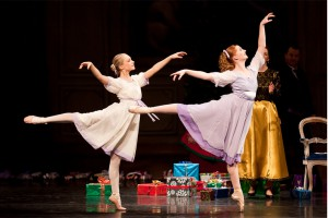Clara and Louise dance in arabesque in the Nutcracker party scene.