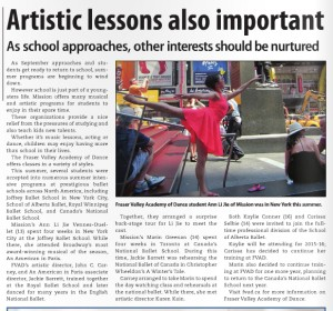 Artistic Lessons Also Important Article