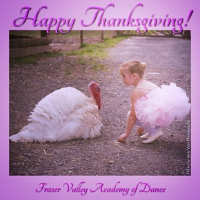 Happy Thanksgiving turkey with baby ballerina in tutu