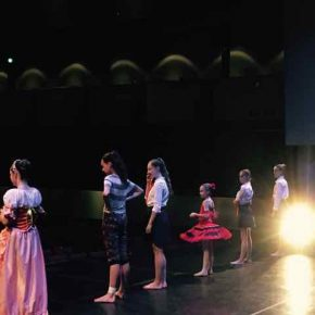 On stage at the Clarke Theatre, in rehearsals for the school show 2017
