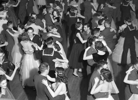 Couples social dancing in black and white photo