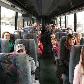 Fraser Valley Academy of Dance on the coach ready to go to Ballet BC at the QE Theatre