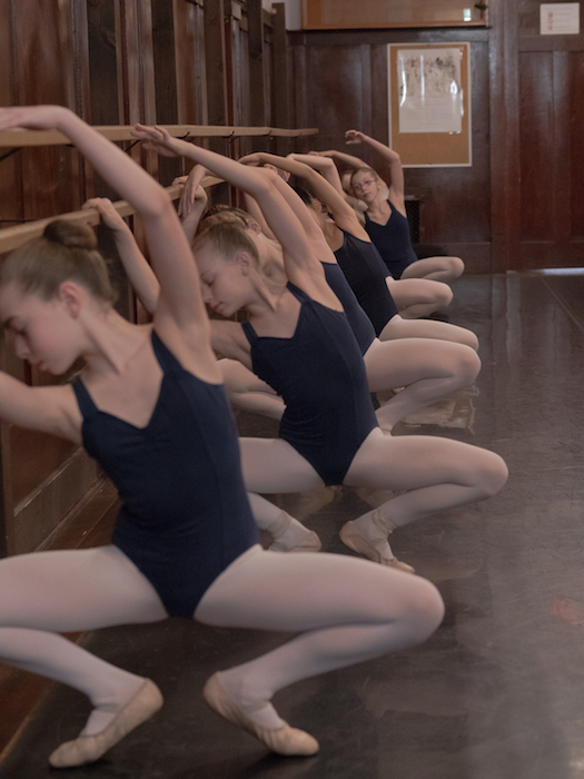 FVAD students at the barre in Master III Ballet class with Mr. Carney