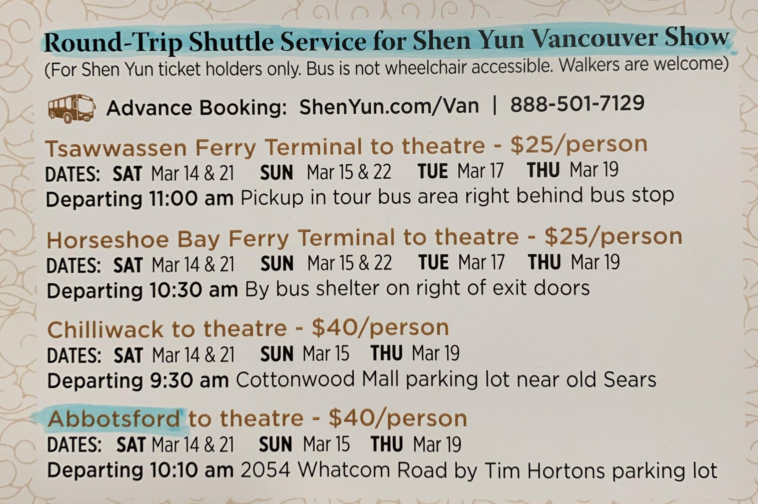 Shen Yun 2020 Shuttle A